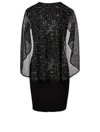 GIVENCHY Crystal Embroidered Cape Dress Women's Black