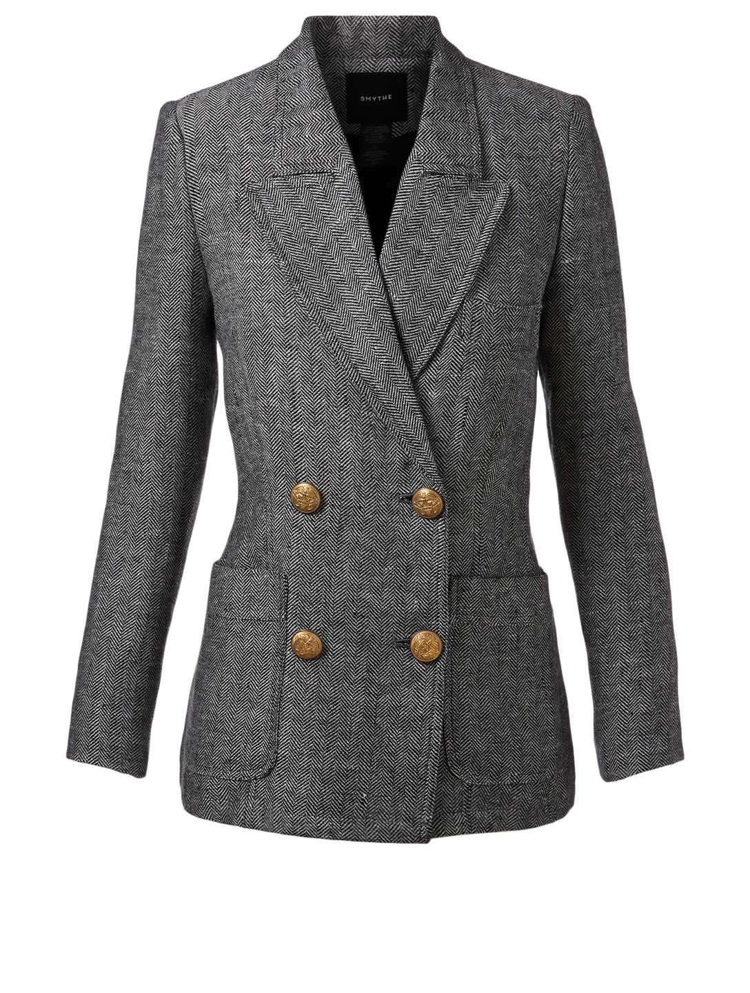 b9abe5f2cc84 SMYTHE Unstructured Linen Double-Breasted Blazer In Herringbone Women's  Multi ...