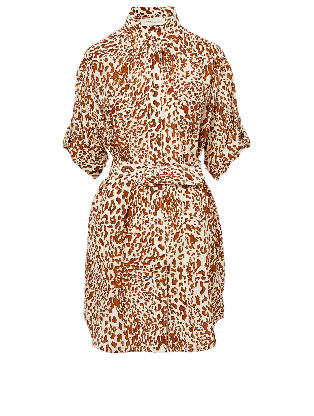 luxury real deal latest releases ZIMMERMANN Utility Silk Shirt Dress In Leopard Print | Holt ...