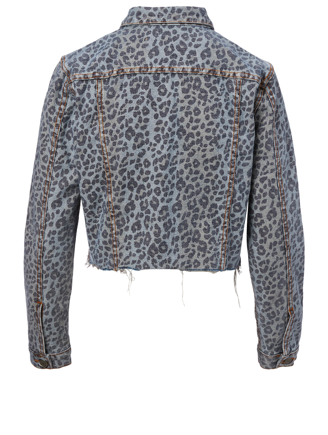 GRLFRND Cara Cropped Denim Jacket In Leopard Print Women's Multi