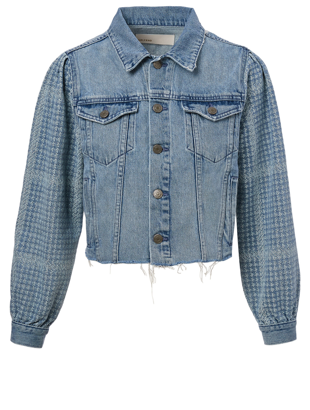 GRLFRND Etta Cropped Denim Jacket With Puffed Sleeves Women's Blue