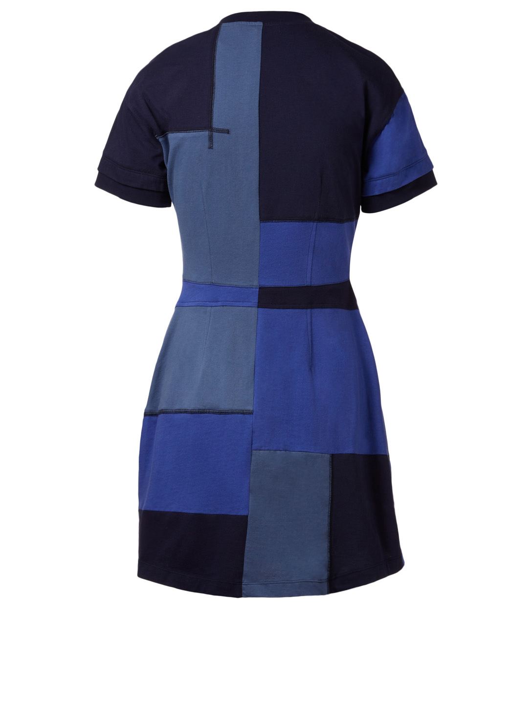 DEREK LAM 10 CROSBY Patchwork T-Shirt Dress Womens Blue
