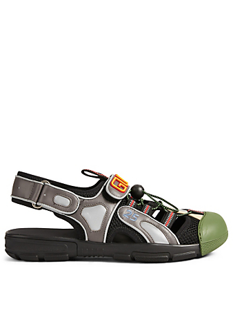 6219db13f39a GUCCI. Leather And Mesh Sandals