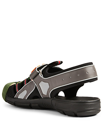 eb79aedc8174 ... GUCCI Leather And Mesh Sandals Men s Multi ...