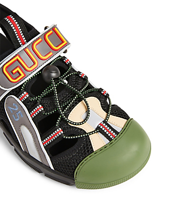 c5e726a20b95 ... GUCCI Leather And Mesh Sandals Men s Multi