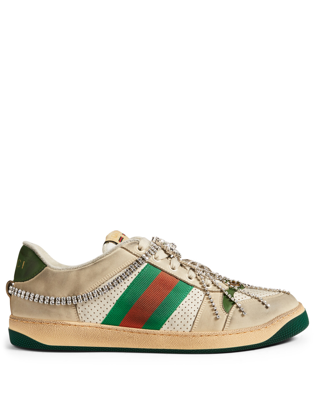 GUCCI Screener Leather Sneakers With Crystals Men's Neutral
