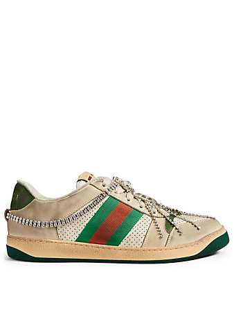 a6c9ce3aec2 GUCCI. Screener Leather Sneakers With Crystals