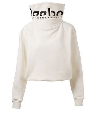 REEBOK X VICTORIA BECKHAM Cotton Cropped Cowl Neck Sweatshirt Women's White