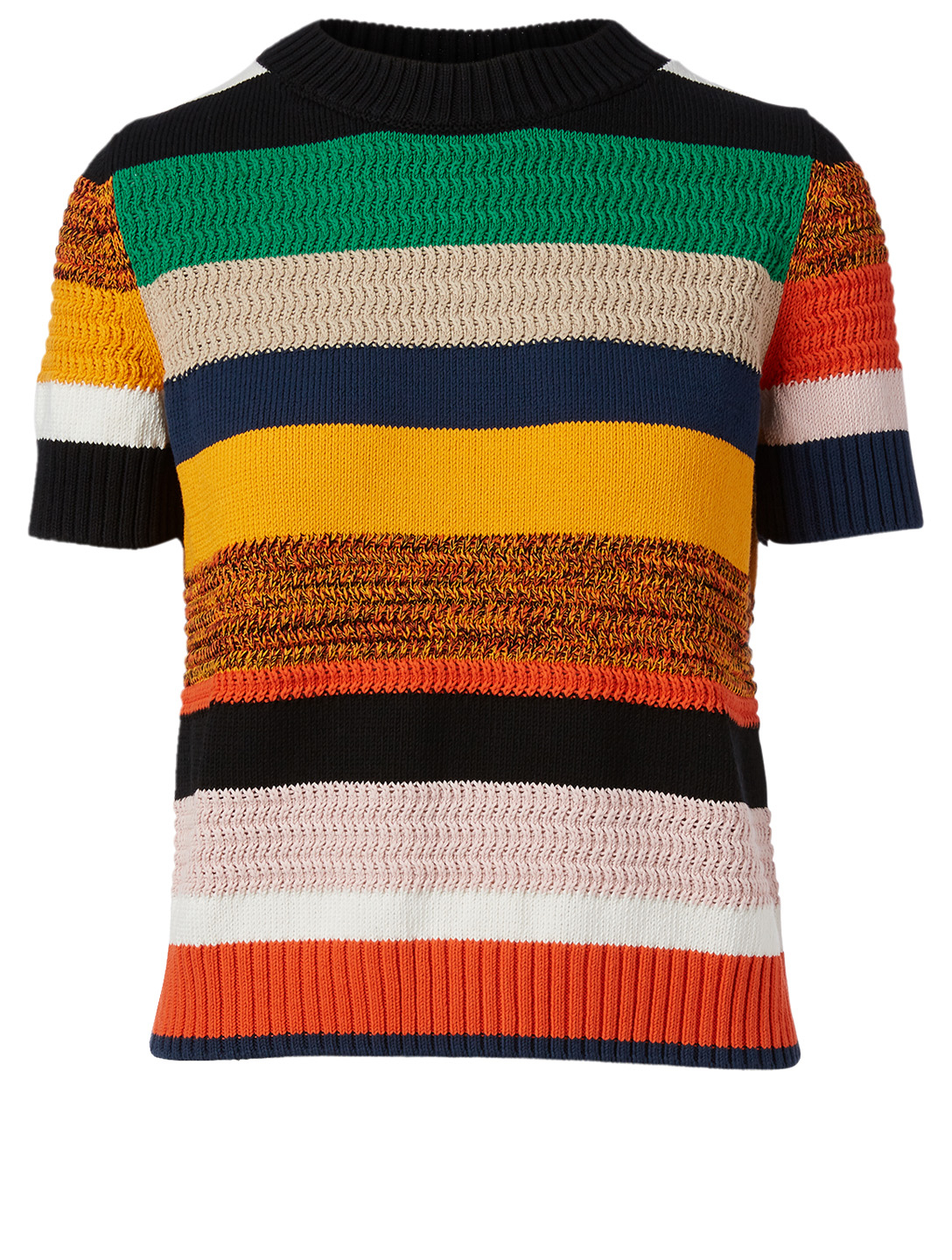 AKRIS PUNTO Cotton Short-Sleeve Sweater In Stripe Print Women's Multi
