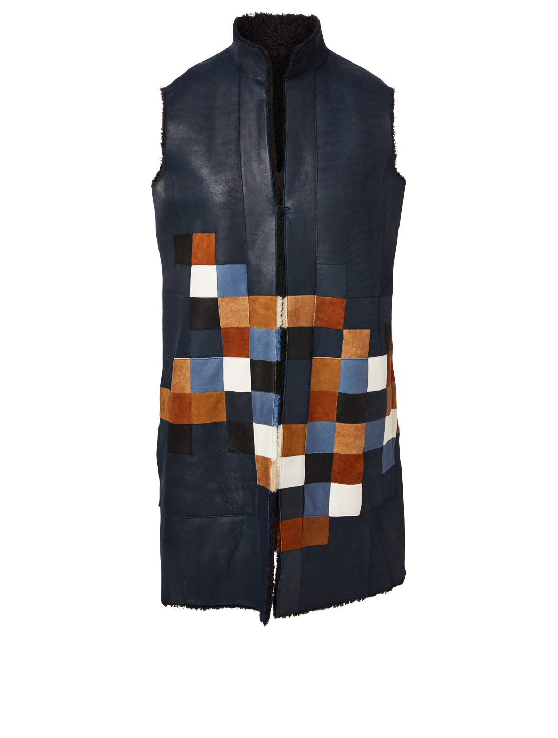 AKRIS PUNTO Reversible Leather Vest In Pixel Print Women's Blue