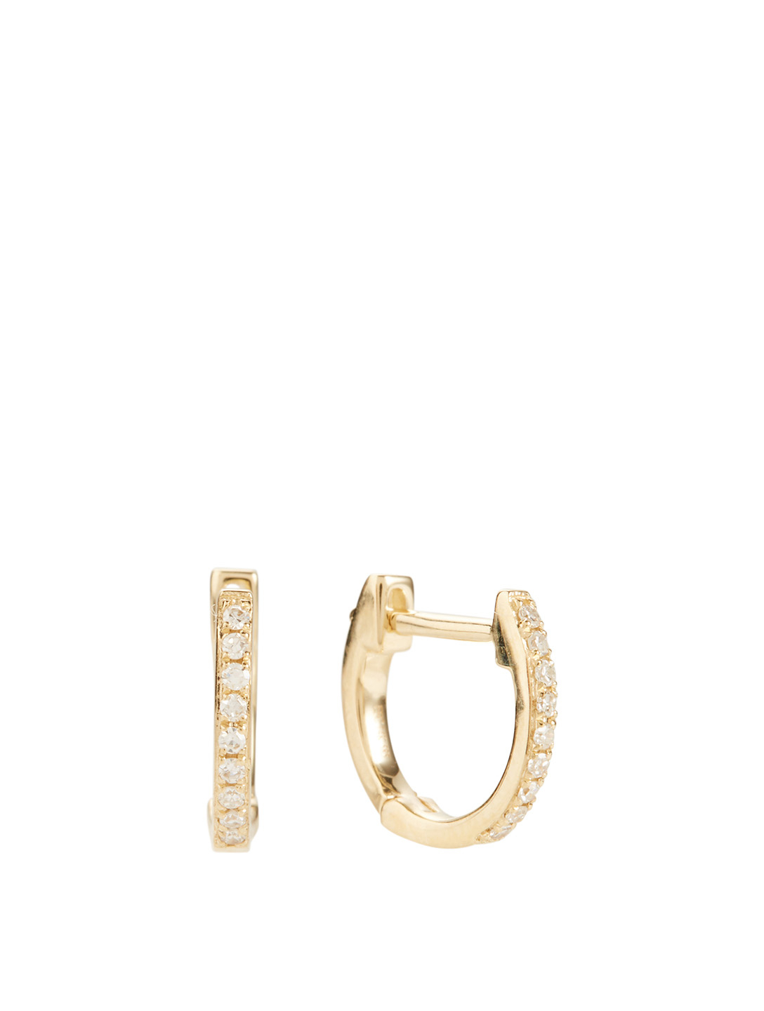 EF COLLECTION Mini 14K Gold Huggie Hoop Earrings With Diamonds Women's Metallic