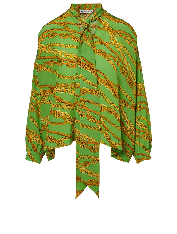 747a74fb8612d4 BALENCIAGA Silk Neck-Tie Blouse In Chain Print Women s Green ...