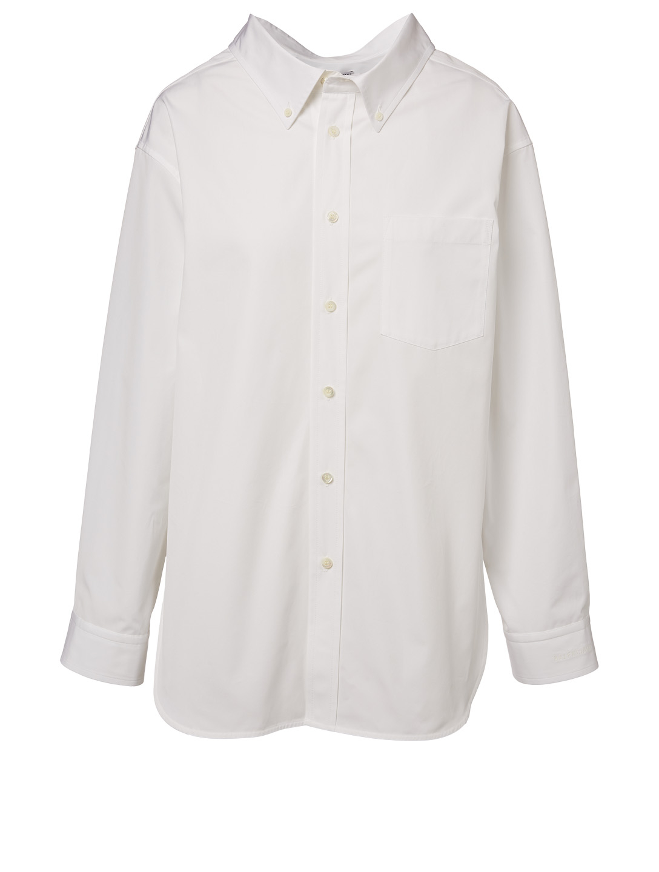 14d5ac929606 BALENCIAGA Swing Collar Poplin Button-Down Shirt Women s White ...