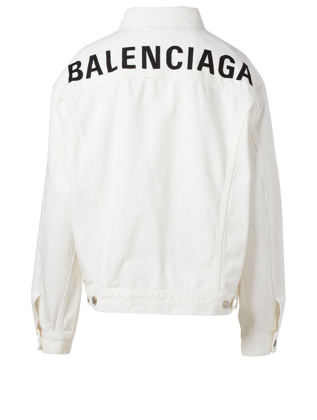BALENCIAGA Logo Denim Jacket Women's White