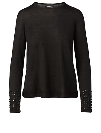 AKRIS Cashmere And Silk Long-Sleeve Sweater Women's Black