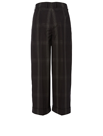 AKRIS Cotton Poplin High-Waisted Pants In Check Women's Black