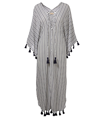 BEACHGOLD Delray Kaftan With Tassels H Project White