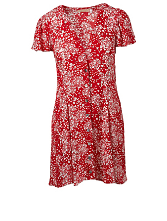 BEACHGOLD Lana Mini Dress In Floral Print H Project Red
