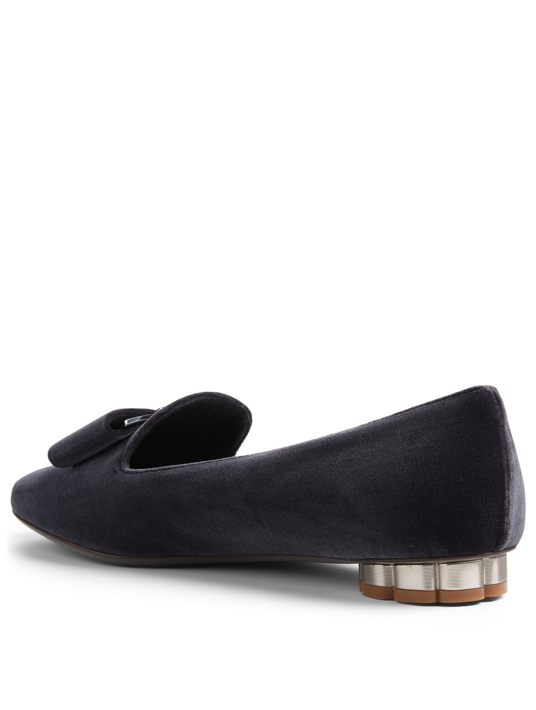 SALVATORE FERRAGAMO Sarno Velvet Flower Heel Slipper Shoes Women's Grey
