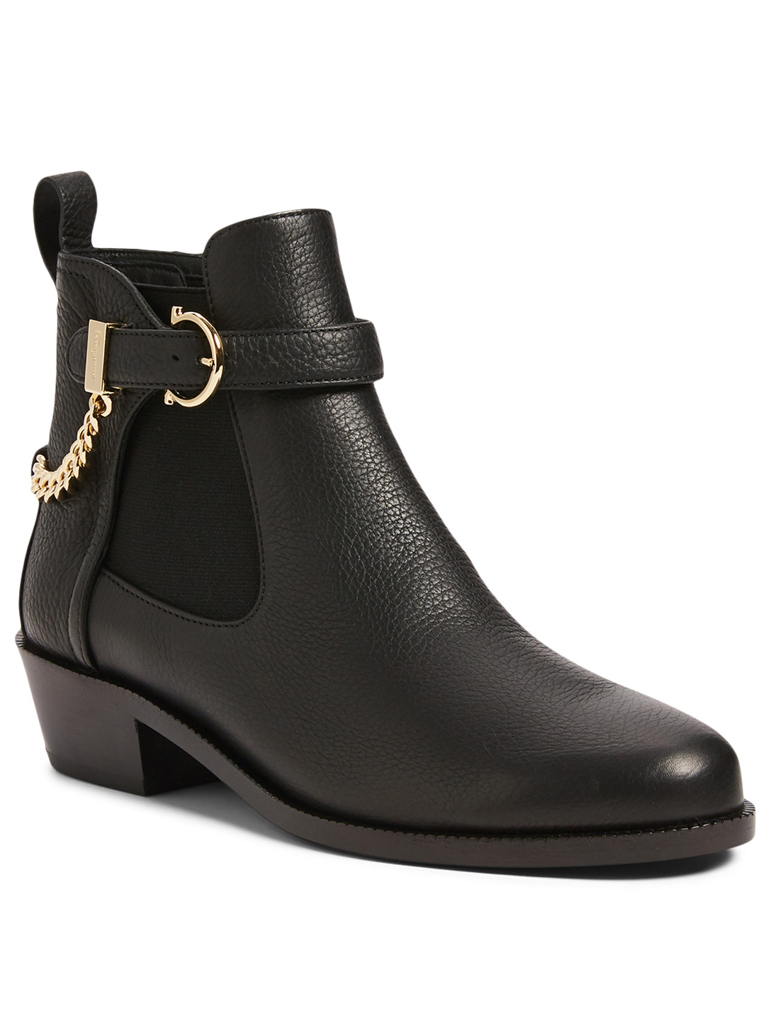 SALVATORE FERRAGAMO Ardisie Leather Ankle Boots With Chain Women's Black