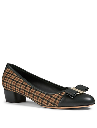 SALVATORE FERRAGAMO Vara Bow Tweed And Leather Pumps Women's Brown