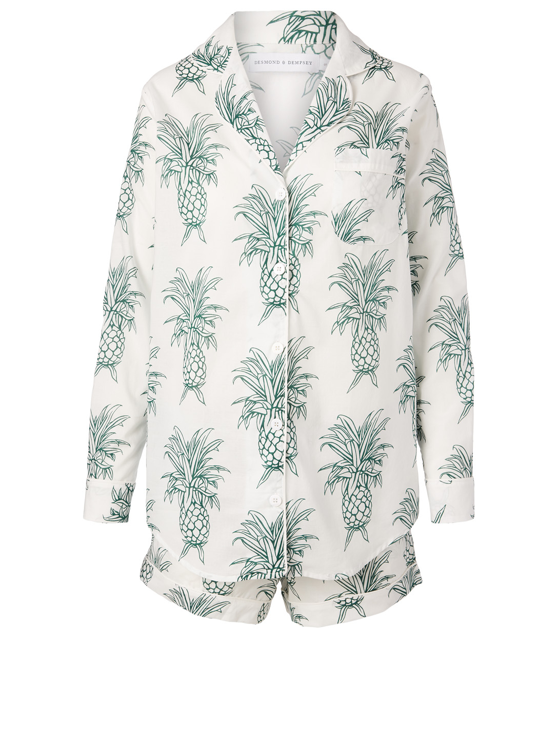 DESMOND & DEMPSEY Howie Pineapple Short Pajama Set H Project White