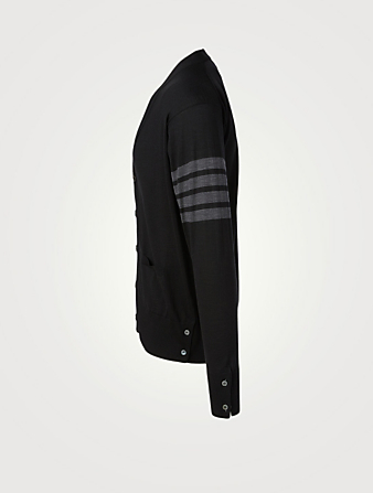 THOM BROWNE Wool Cardigan With Four-Bar Stripe Men's Black