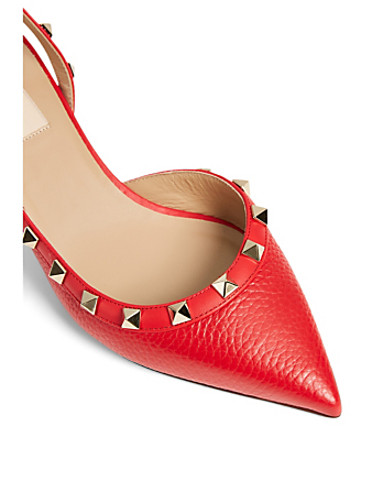 VALENTINO GARAVANI Rockstud Leather Slingback Pumps Women's Red