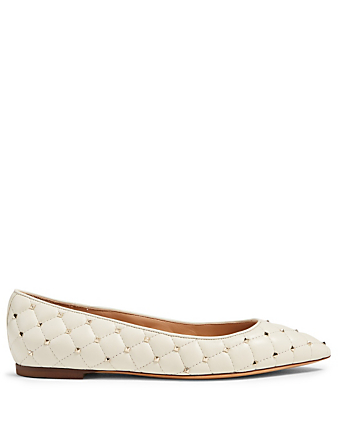 VALENTINO GARAVANI Rockstud Spike Leather Ballet Flats Women's White