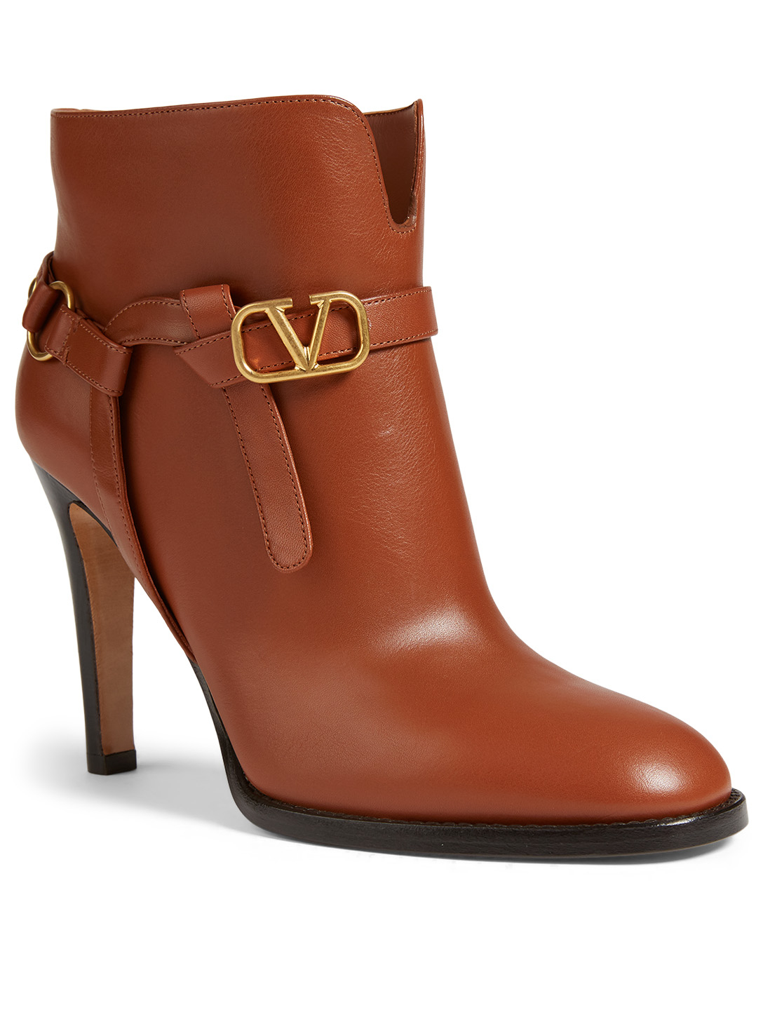 VALENTINO GARAVANI Leather Heeled Ankle Boots With VLOGO Belt Women's Brown