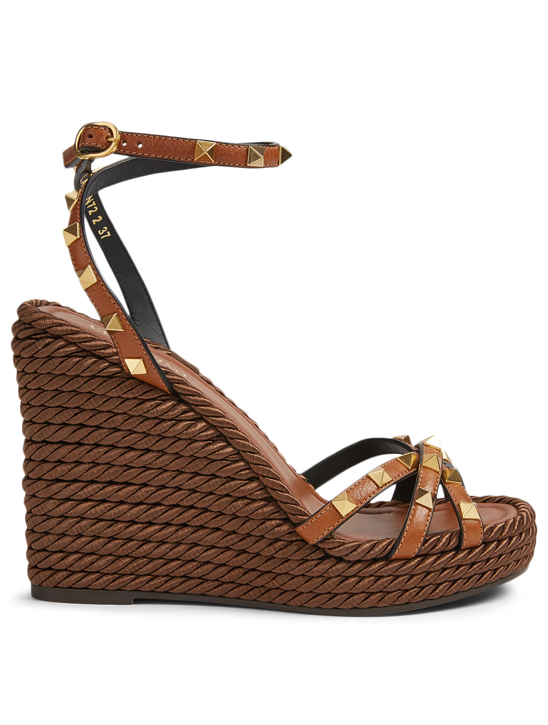 02513349436 VALENTINO GARAVANI Rockstud Torchon Leather Wedge Sandals | Holt Renfrew