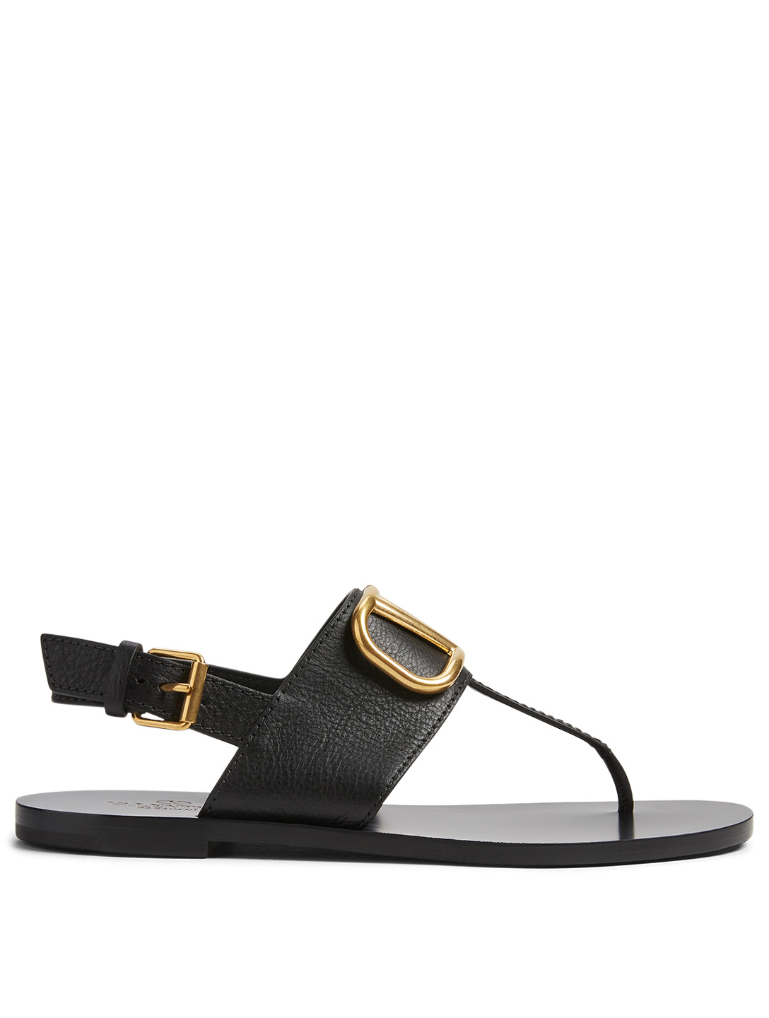 VALENTINO GARAVANI Leather Slingback Thong Sandals With V-Logo Collections Black