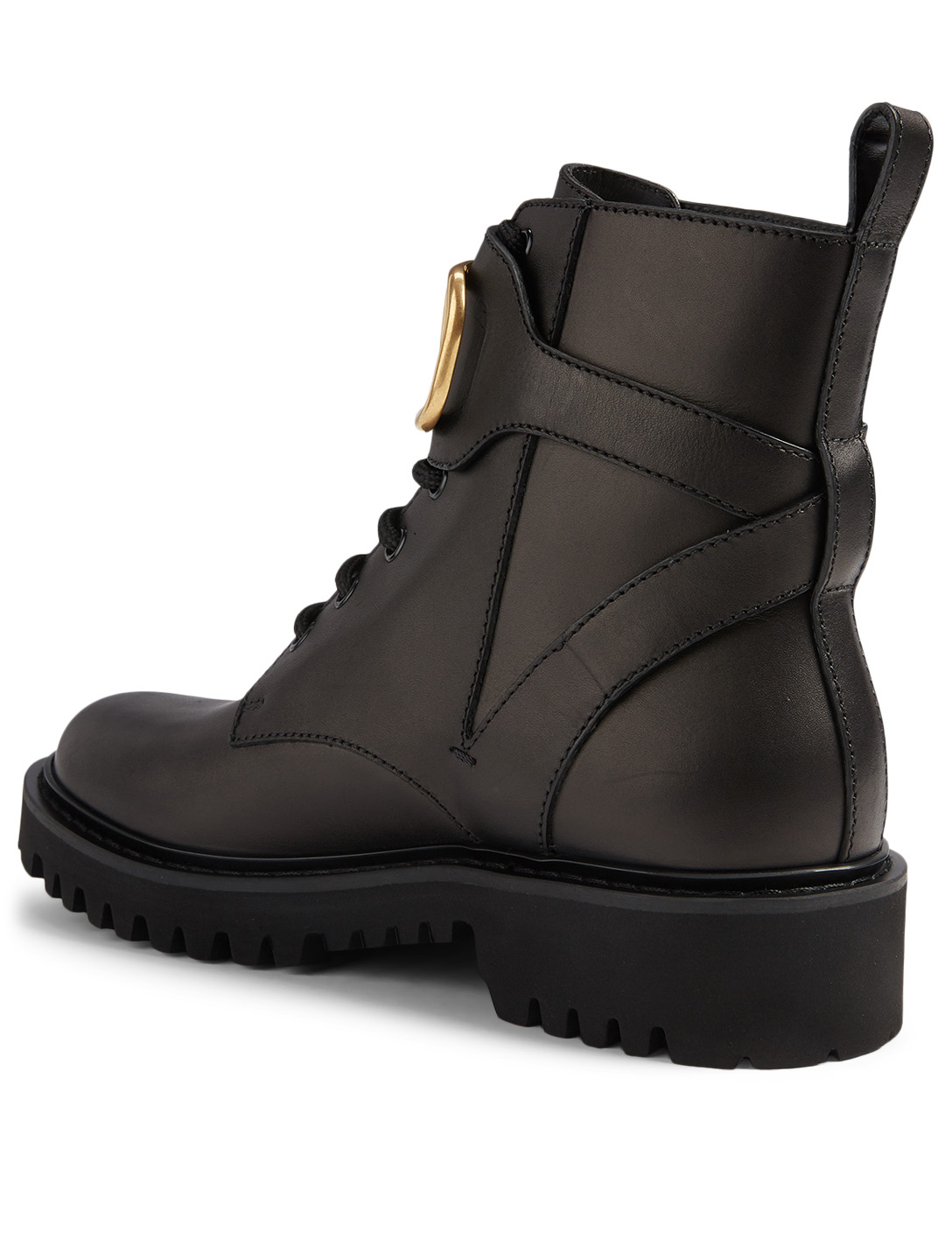 VALENTINO GARAVANI Leather Combat Boots With V-Logo Strap Women's Black