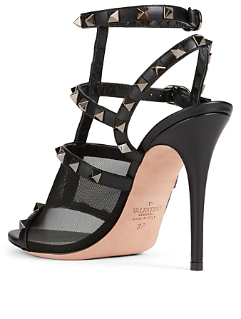 VALENTINO GARAVANI Rockstud Mesh And Leather Heeled Sandals Women's Black