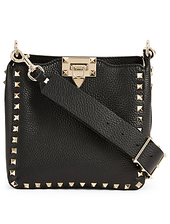 VALENTINO GARAVANI Mini Rockstud Leather Hobo Bag Women's Black