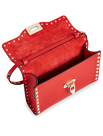 VALENTINO GARAVANI Small Rockstud Leather Bag Women's Red