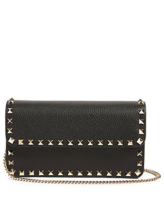 VALENTINO GARAVANI Rockstud Leather Wallet Chain Bag Women's Black