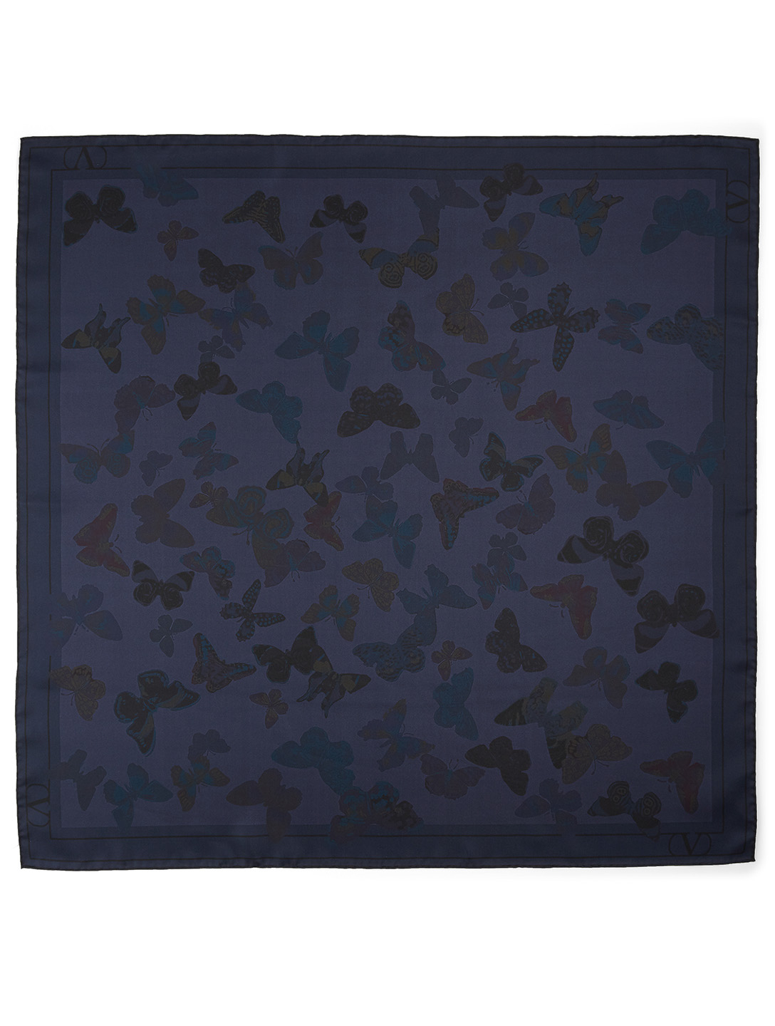 VALENTINO Silk Scarf In Butterfly Print Women's Blue