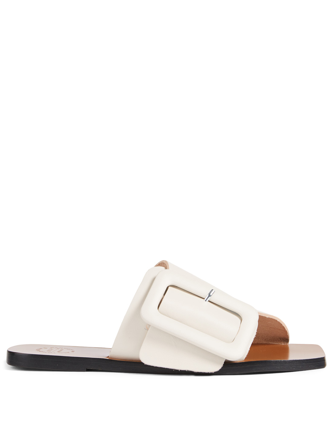ATP ATELIER Ceci Leather Slide Sandals With Buckle Women's White