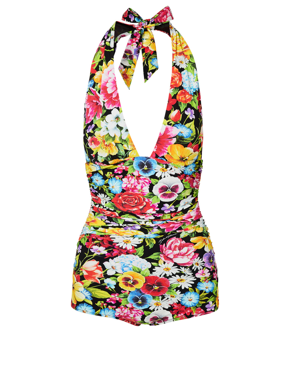 86728035127 DOLCE & GABBANA One-Piece Swimsuit In Pansy Print Women's Multi ...