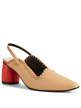 REIKE NEN Leather Slingback Pumps Womens Neutral