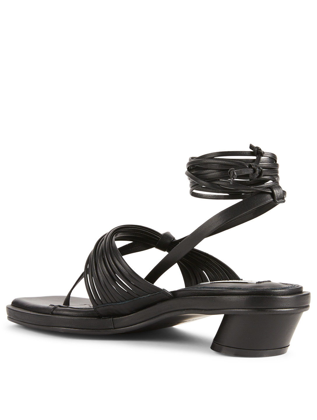 REIKE NEN Unbalanced String Leather Heeled Sandals Women's Black
