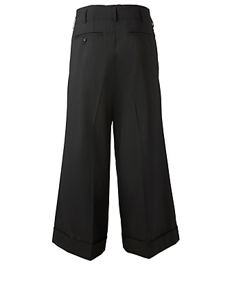 COMME DES GARÇONS Wool Wide-Leg Pants In Pinstripe Women's Black