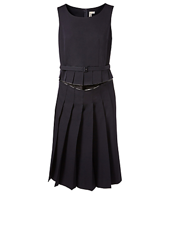 COMME DES GARÇONS Wool Pleated Dress With Cut-Out Women's Blue