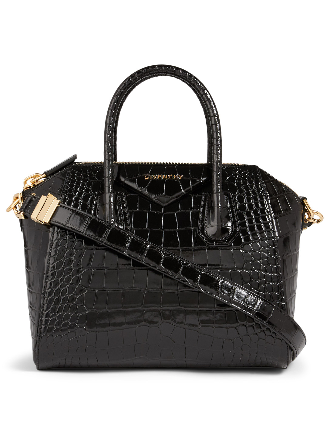 GIVENCHY Small Antigona Croc-Embossed Leather Bag Women's Black