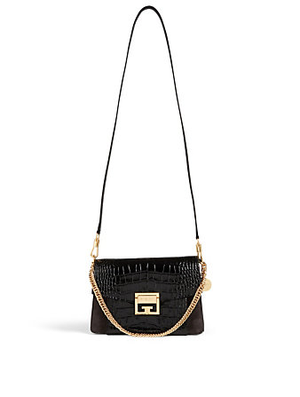 GIVENCHY Small GV3 Croc-Embossed Leather Bag Women's Black