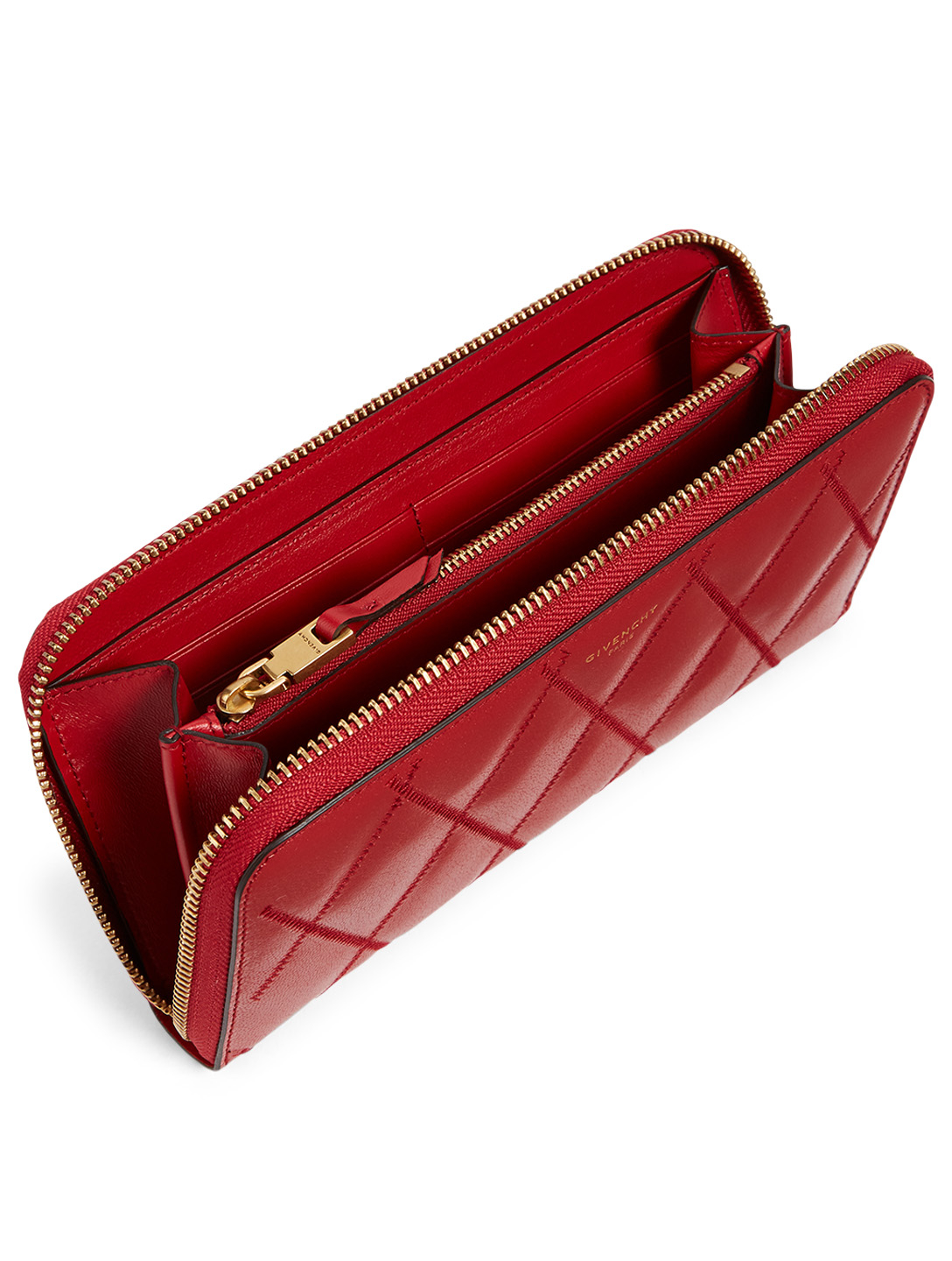 GIVENCHY GV3 Leather Continental Wallet Women's Red