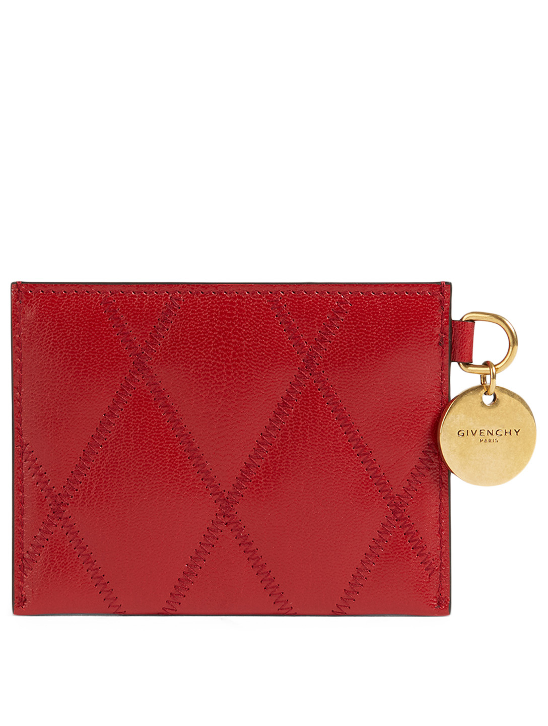 GIVENCHY GV3 Leather Card Holder Women's Red