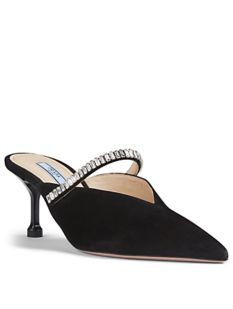 PRADA Suede Mules With Crystal Strap Women's Black