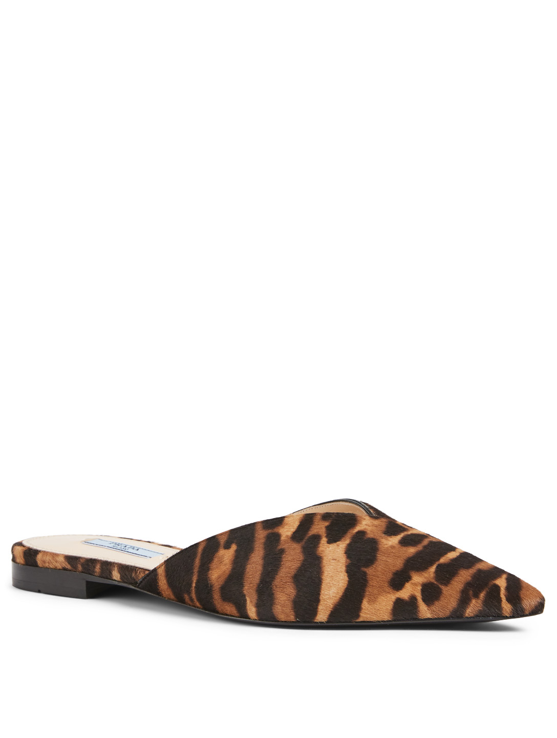 PRADA Calf Hair Flat Mules In Leopard Print Women's Brown